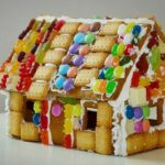 Gingerbread house decorated with jellybeans